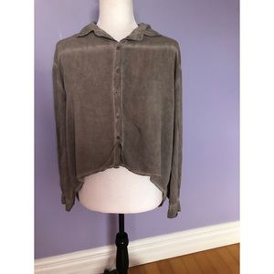 Brandy Melville HiLo Button Open drape Back blouse